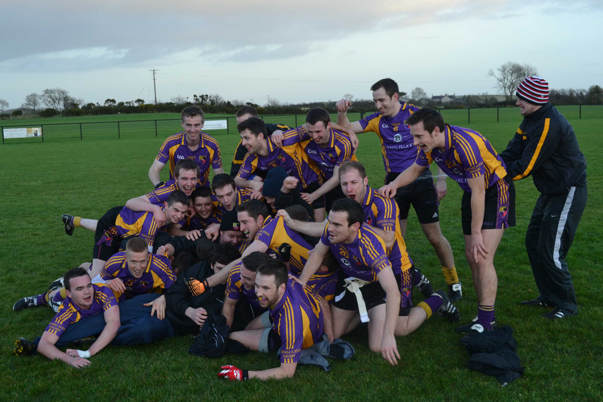 Carryduff players celebrate promotion to division ii