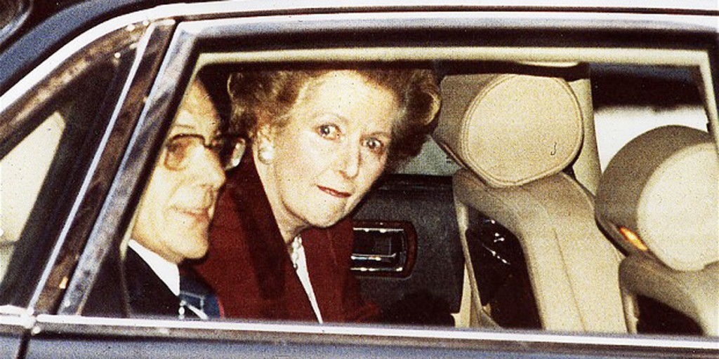 A tearful Margaret Thatcher resigns as Prime Minister in 1990