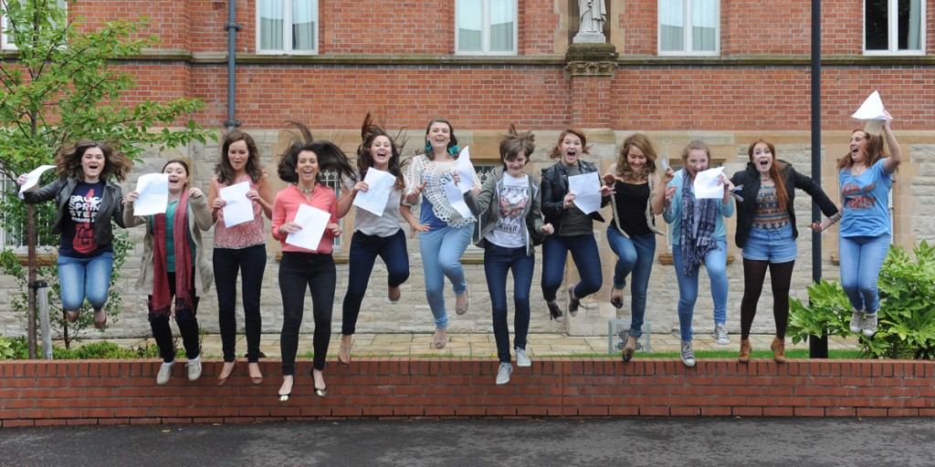 St Dominic's pupils jump for joy on receiving their A-Level results