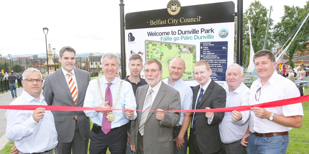 Lord Mayor Máirtin ó Muilleoir officially opens Dunville Park along with the DUP's Nelson McCausland and Gavin Robinson, Tim Attwood and Colin Keenan from the SDLP, and Stevie Corr, Paul Maskey, Fra McCann and Caoimhín Mac Giolla Mhín from Sinn Féin