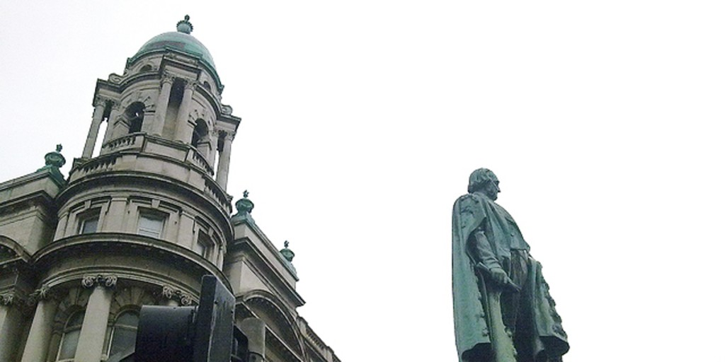 NOT EASY BEING GREEN: The statue of the Black Man in Belfast city centre