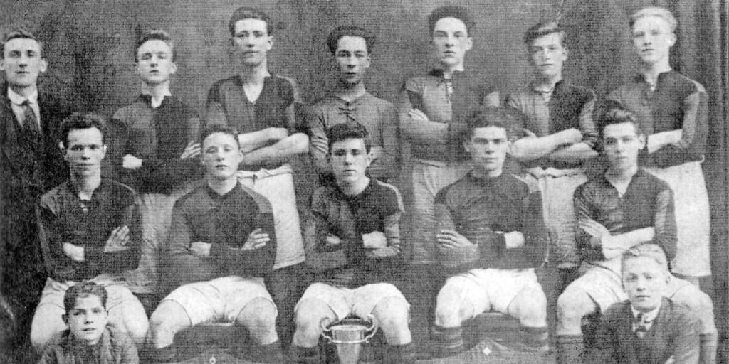 Michael McLaverty, second  left back row, Beechmount United, 1923