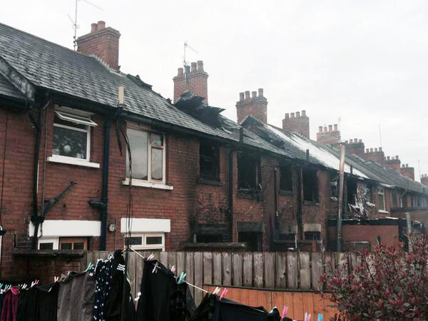 The homes in Dunmurry that were damaged by the fire