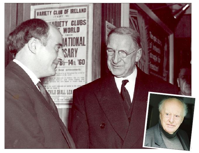 George Morrison, left, meets Eamon De Valera at the 1959 Mise Éire premiere in Cork; inset, Morrison today