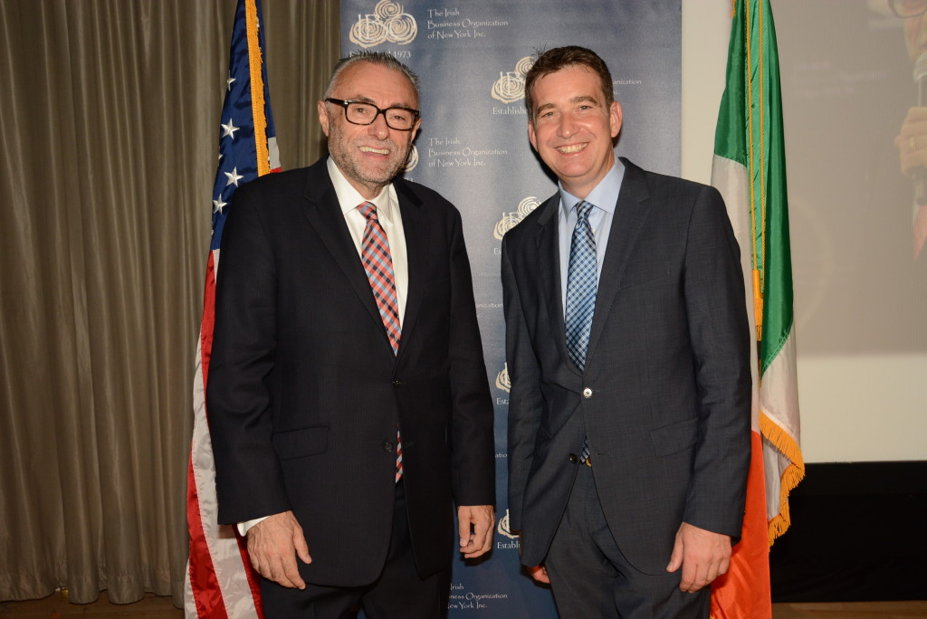 IBO President Sean McNeill (left) welcoming Mark Little to the IBO speaker's evening