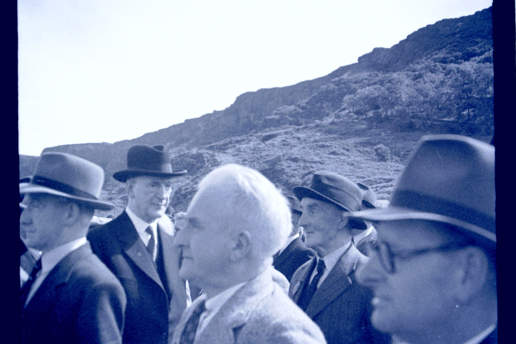 Taoiseach Éamon De Valera on a visit to the stone cross memorial at Murlough, where a burial place for Roger Casement has already been selected    Pic from the Joe Nolan archive