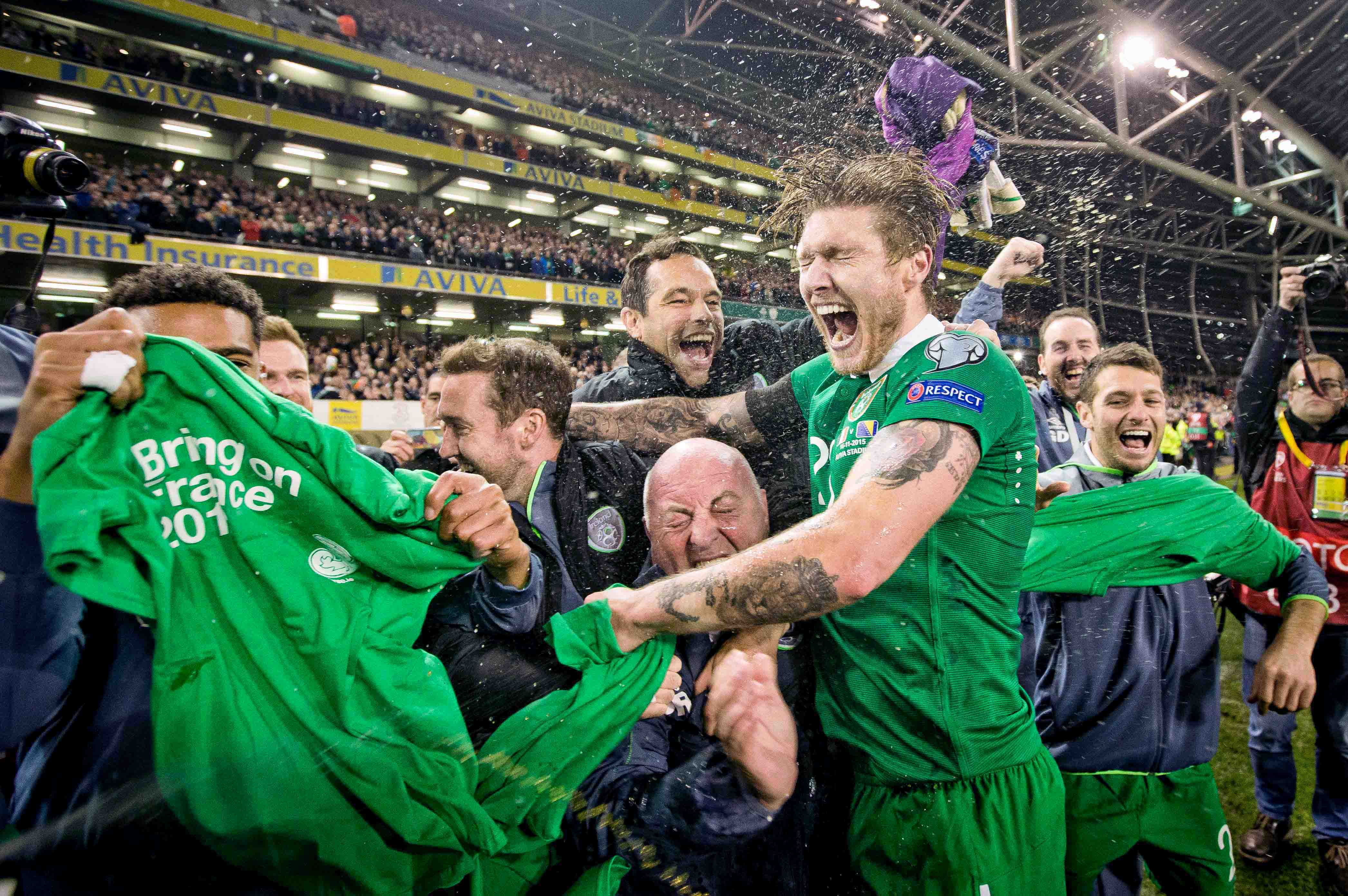 Wild celebrations at the Aviva after Ireland secured a 3-1 aggregate victory over Bosnia-Herzogovina to book a place at Euro 2016