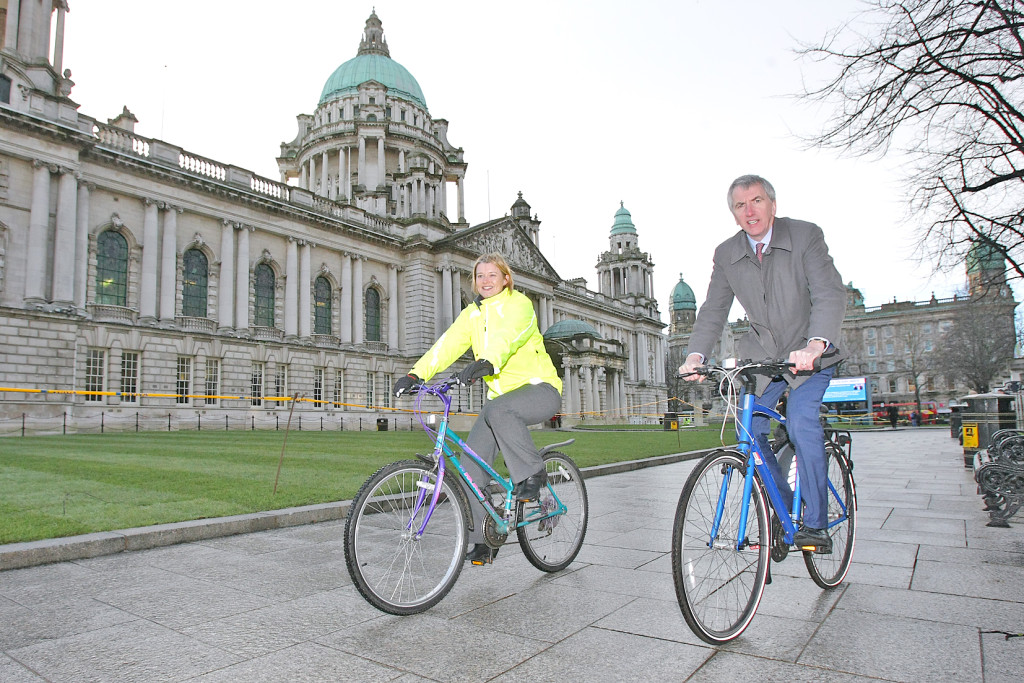 Máirtín Ó Muilleoir launching the city's first Ciclovía at City Hall with Anne Madden of Sustrans NI