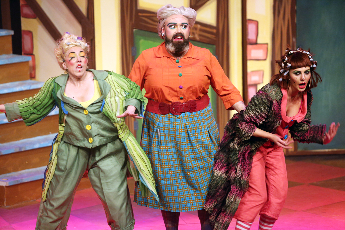 Rachel murray and kerri quinn as the ugly sisters and ross anderson as nanny magee