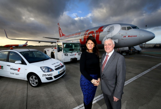 Swissport Manager Jean Foster and Belfast International Airport Operations Director Alan Whiteside are looking to the future