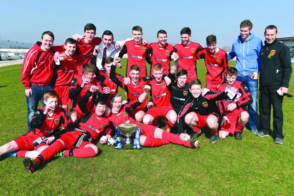 De La Salle celebrate  following their 3-1 win over St Malachy's in the Belfast School's Cup final.
