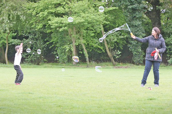 Catherine Caskey enjoys Cherryvale Playing Fields with her son, Andy (age 6).