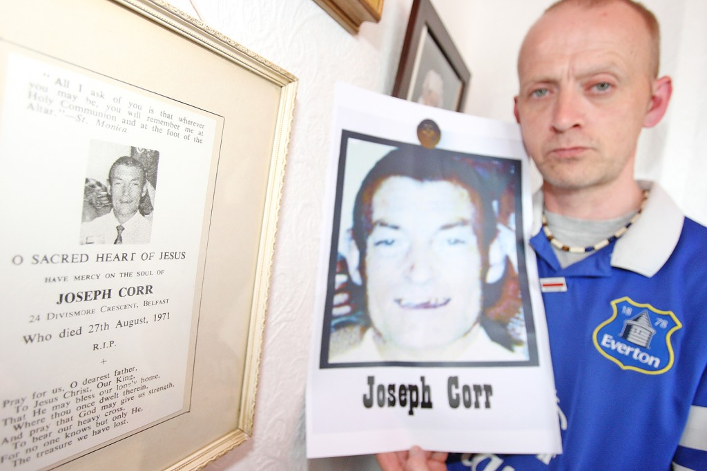 Mickey Corr with a picture of his grandad Joseph Corr, killed in the Ballymurphy Massacre. Mickey wants to get to the truth for his dying dad