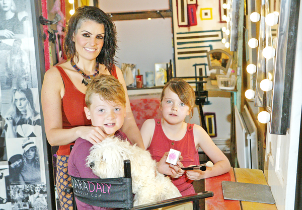 Ciara Daly with Jay, Darcy and Tootsie the dog.