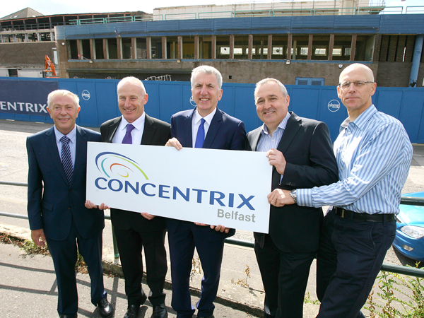 FROM LEFT: Geoffrey Archer, Commercial Director O'Hare and McGovern; Martin Lennon, Managing Director O'Hare and McGovern; Finance Minister Máirtín Ó Muilleoir; Philip Cassidy, Senior VP Concentrix; and Jeremy Cheetham, Senior Director and Controller Europe