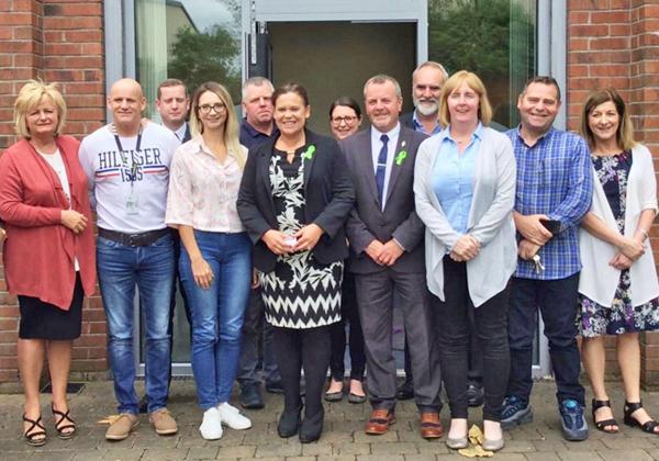 Sinn Féin Vice President Mary Lou McDonald with local community activists