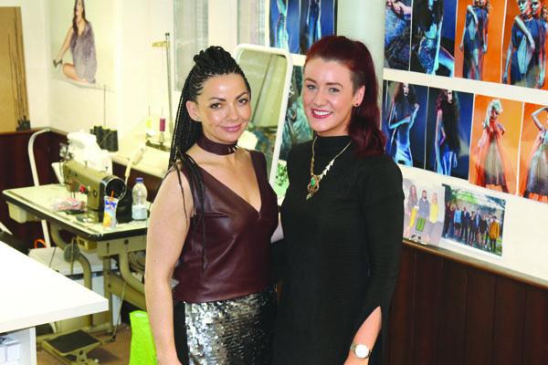 Classical star Ruth McGinley with Chloe Dougan in her North Belfast design studio.