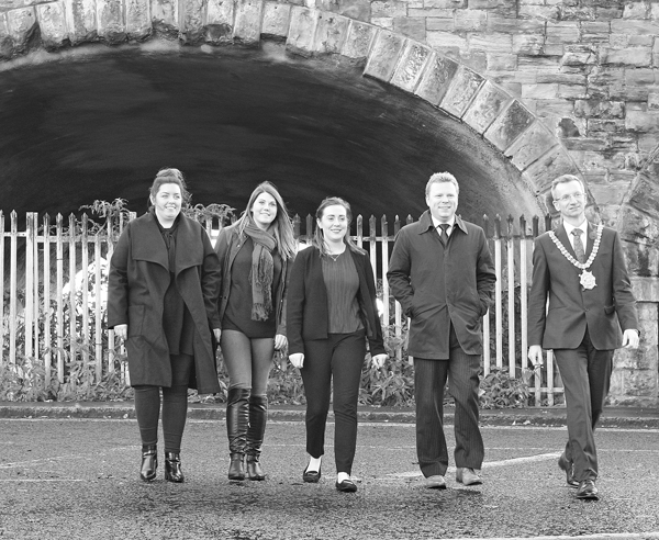 GOOD TO GO: Councillor Deirdre Hargey, Kathleen McCarthy (MDA), Junior Ministers Megan Fearon and Alastair Ross and Lord Mayor Brian Kingston at the Market Tunnels