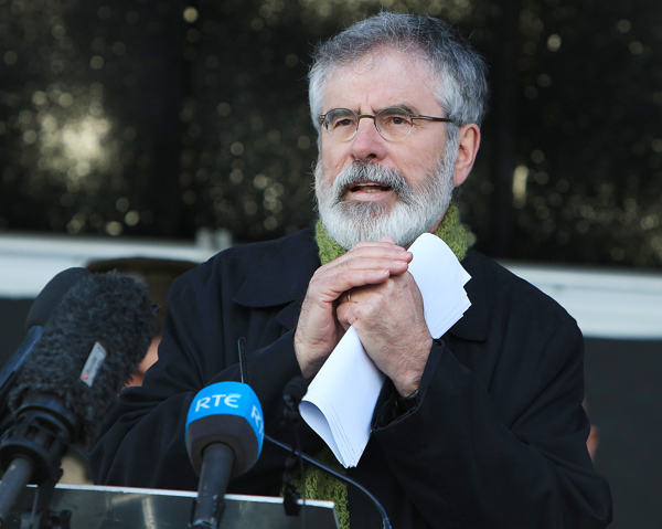 Gerry Adams is keeping up the pressure on First Minister Arlene Foster