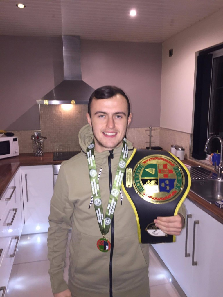 Connor Kearney, with his 49kgbelt after winning the Irish Intermediate title, has blasted the circumstances which led to his opponent LeighMoran being granted a walkover in the Irish U22 Championship in Dublin last weekend