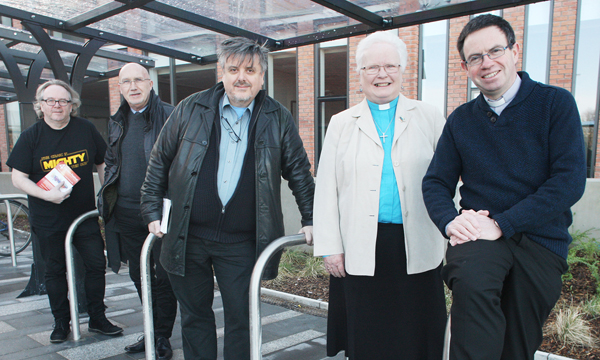 REACHING OUT:Fr Martin Magill (right) with fellow clergy at last year\'s Four Corners religious festival