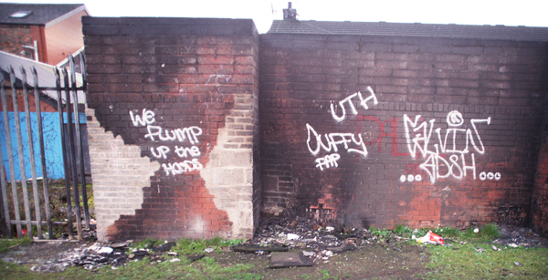 Damage at the back of Oldpark shops, where fires are regularly lit by gangs of young people
