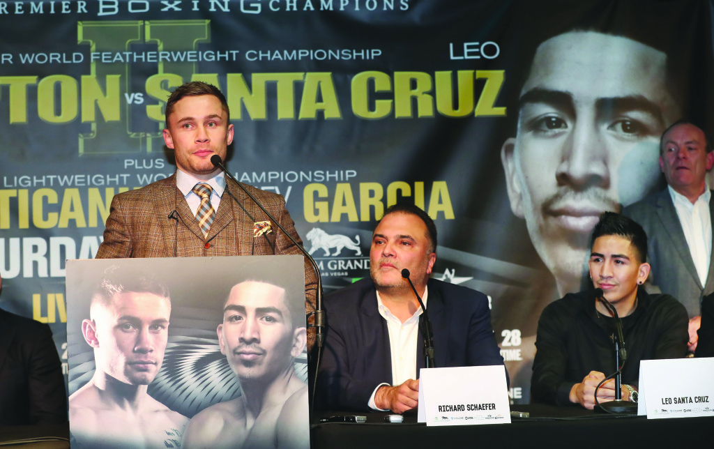 Former Golden Boy Promotions CEORichard Schaefer (right) says Carl Frampton can become a boxing legend should he triumph at the MGM Grand next Saturday