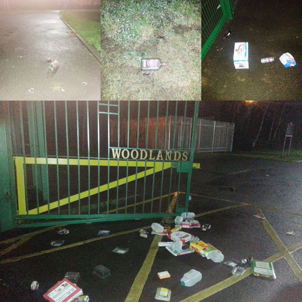 MESS: Police posted this picture of the entrance to Woodlands playing fields at Finaghy