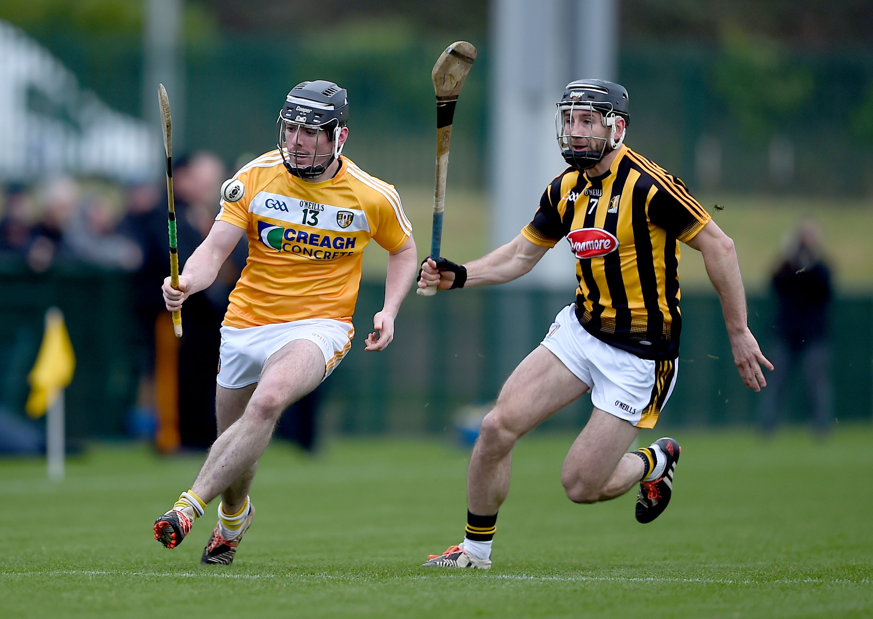 Antrim\'s Ciaran Clarke steels a march on Kilkenny's Conor Fogarty during Sunday's Walsh Cup clash at Abbottstown