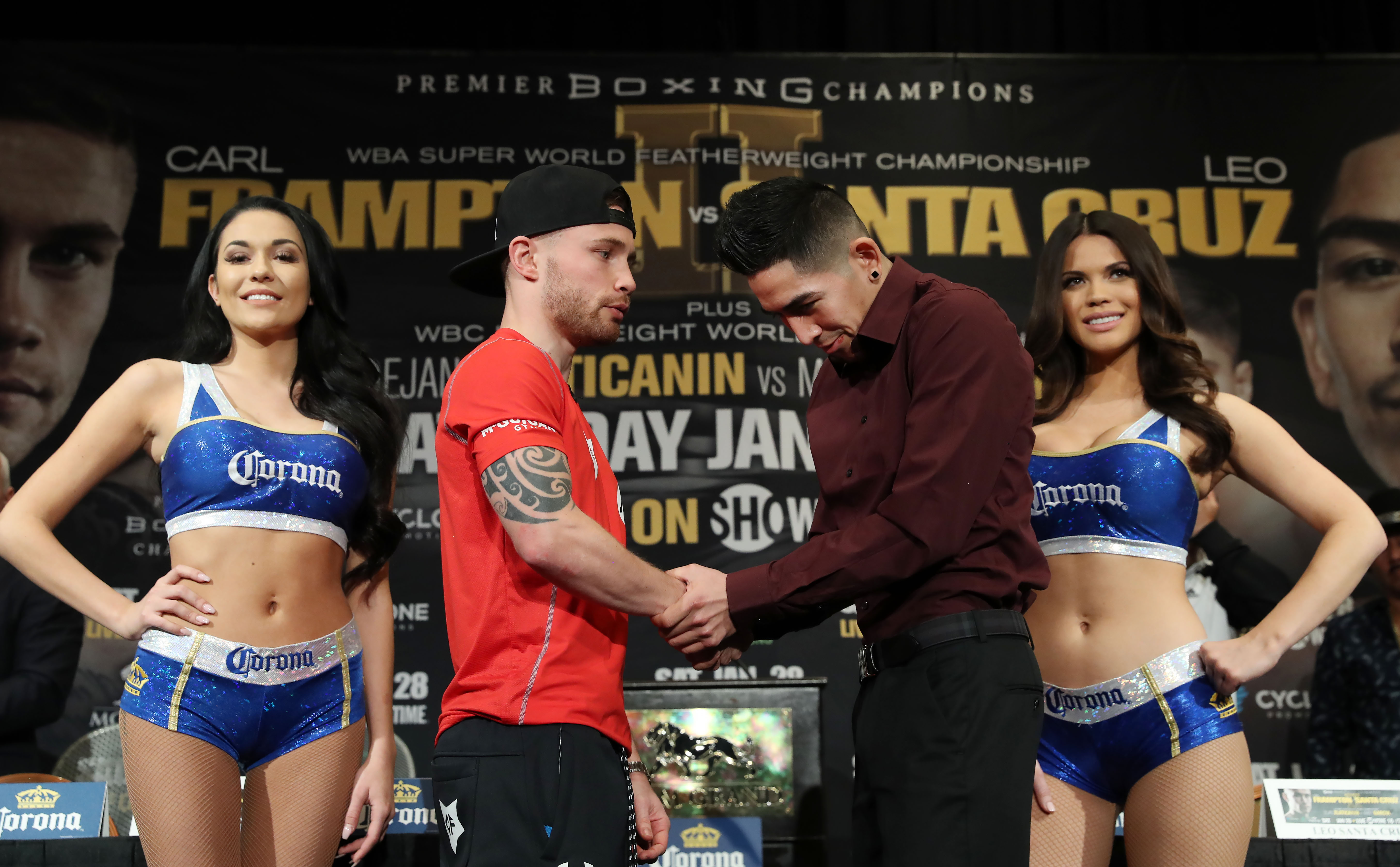 Carl Frampton and Leo Santa Cruz during Thursday\'s press conference at the MGM Grand Hotel and Casino, Las Vegas. Photo William Cherry/Presseye