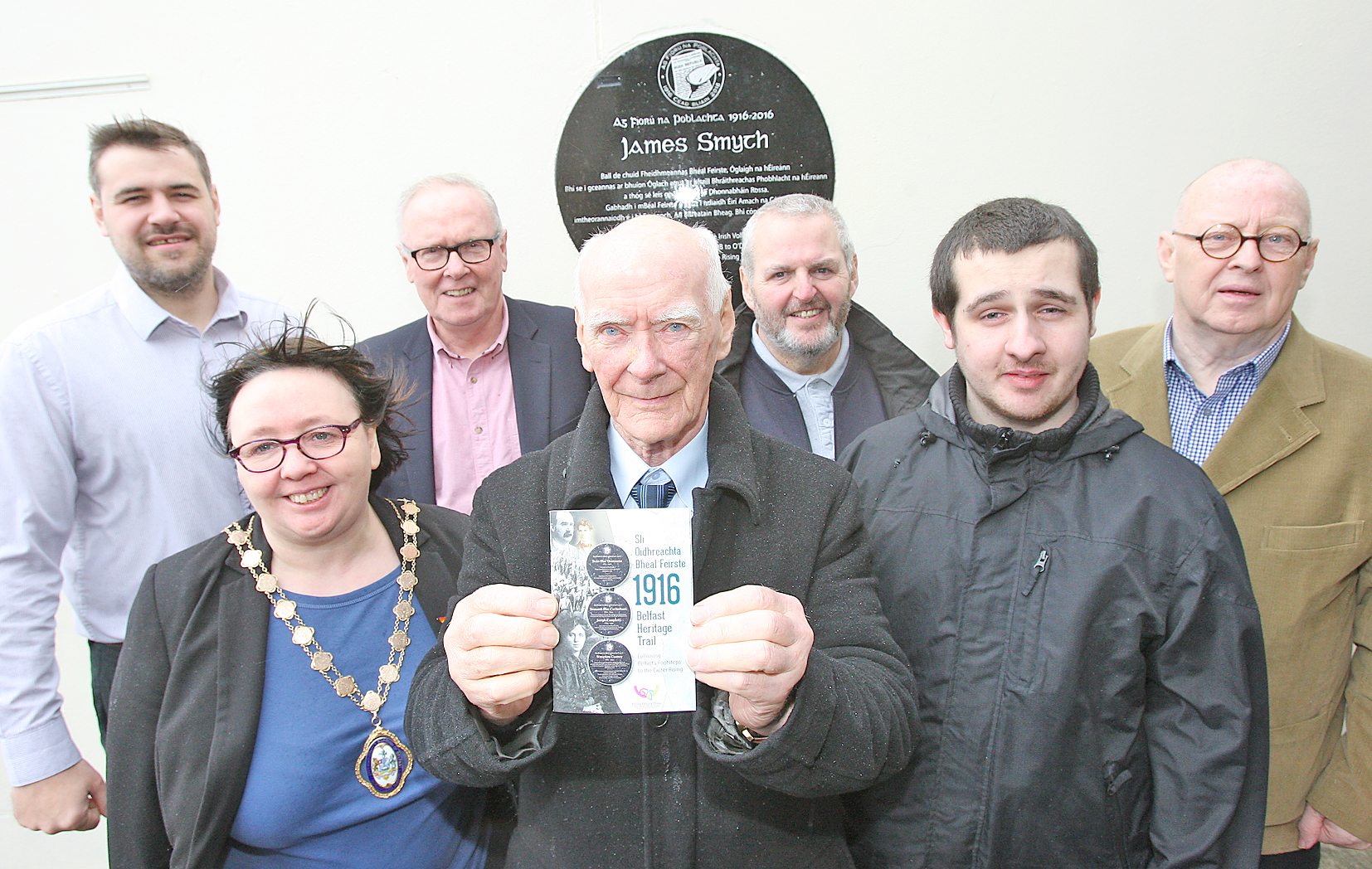 TRAIL: With Desmond Cassidy unveiling the new plaques of the Belfast Heritage Trial at the Felons are Harry Connolly, Deputy Lord Mayor Mary Ellen Campbell, Tony McCusker of the Heritage Lottery Fund, Pat MacDermott, Seán MacDermott and Joe Austin