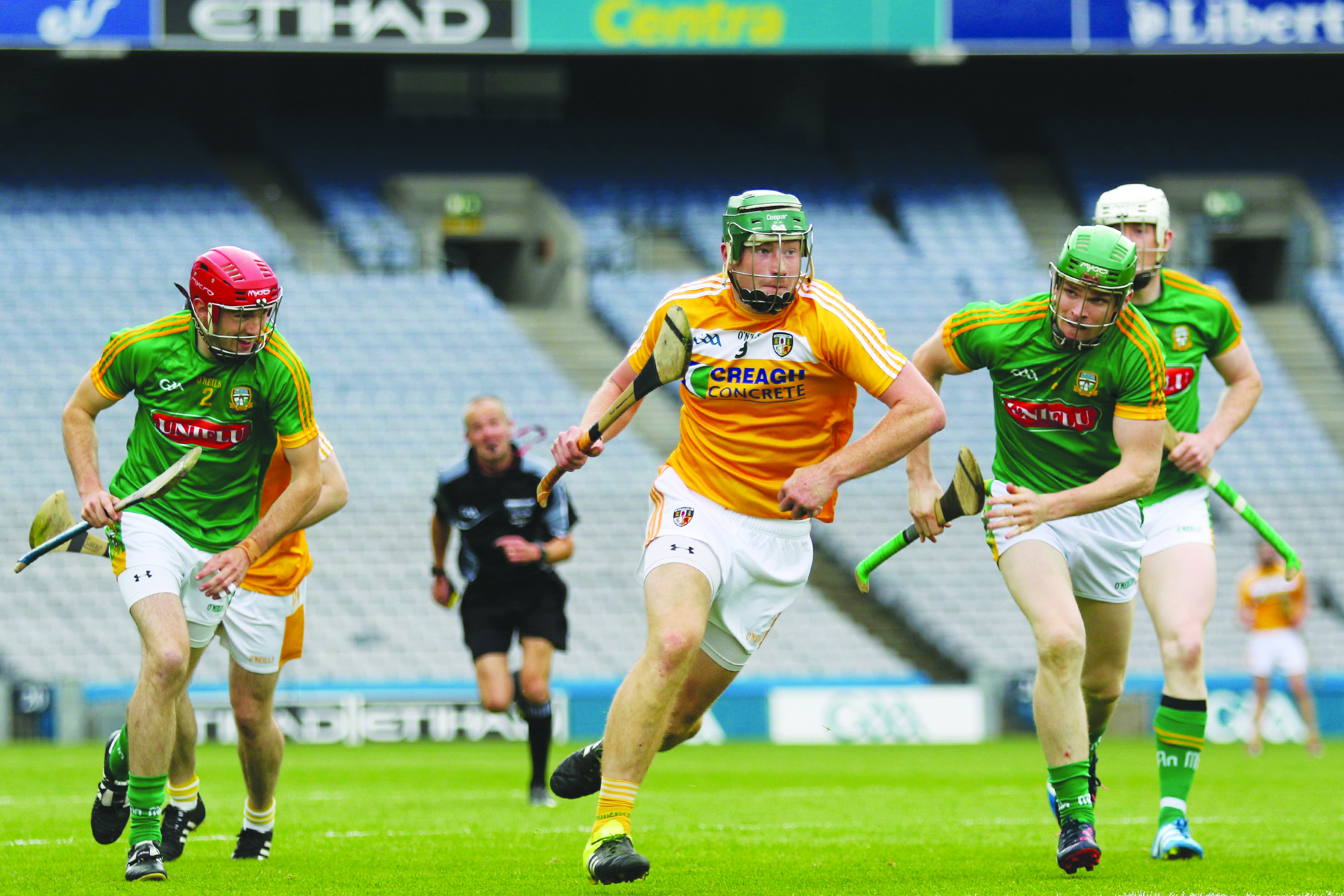 Niall McKenna, pictured in action against Meath in the Christy Ring Cup final replay last year in Croke Park, has urged Antrim to make a statement of intent against London in Sunday's National Hurling League opener in Corrigan Park