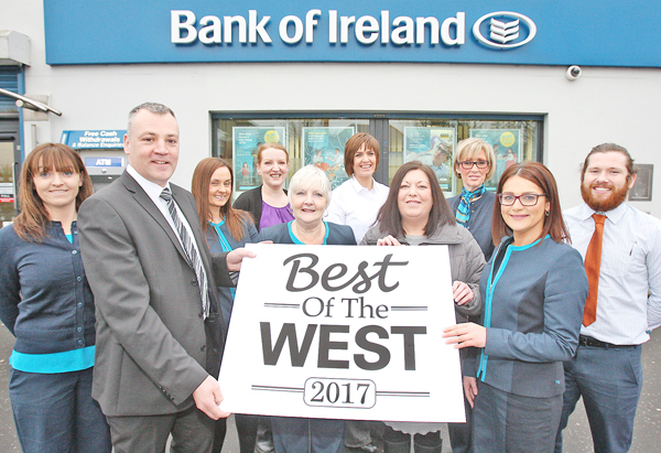 Bank of Ireland staff Michelle Schreuder, Michael Pucci, Clare McMorrow, Bronagh McLoughlin, Olive Benson, Denise Marley, Anne Marie Fallon, Elaine McAuley and Ciaran Flaherty with Jacqueline O\'Donnell from the Belfast Media Group