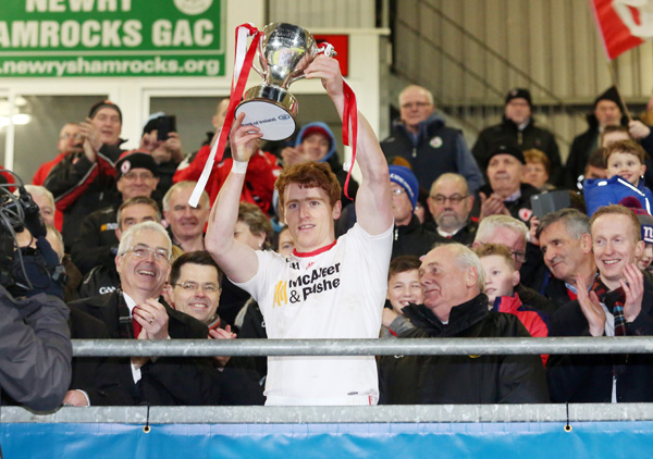 DIVISION ONE BET :  Tyrone\'s Peter Harte lifts the Dr McKenna Cup after Saturday\'s nine-point win over Derry in Newry. The Red Hands are a decent shout at 4/1 to finish top of the NFL Division One standings