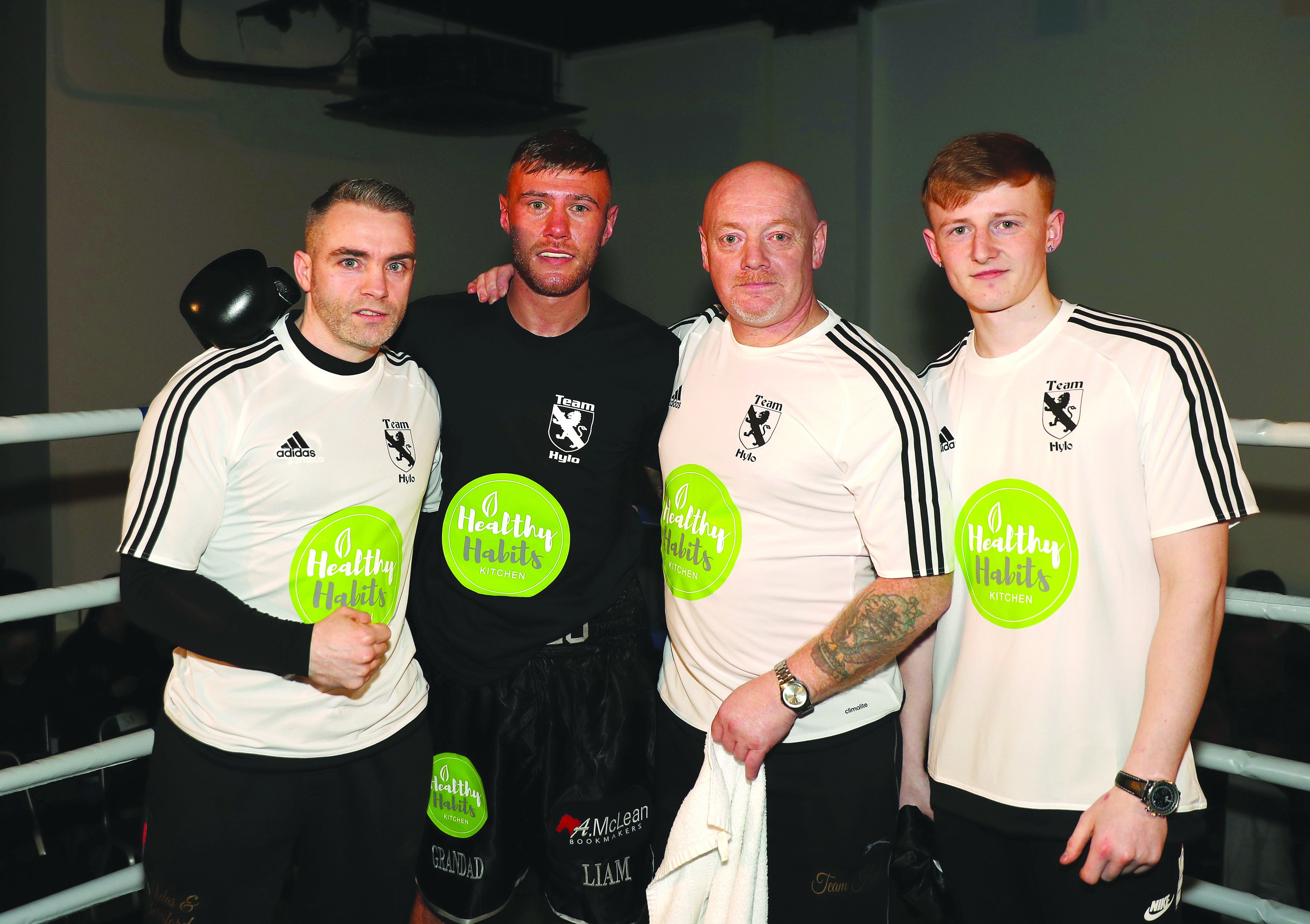 Paul Hyland Jnr with his team following Saturday's victory at the Europa Hotel