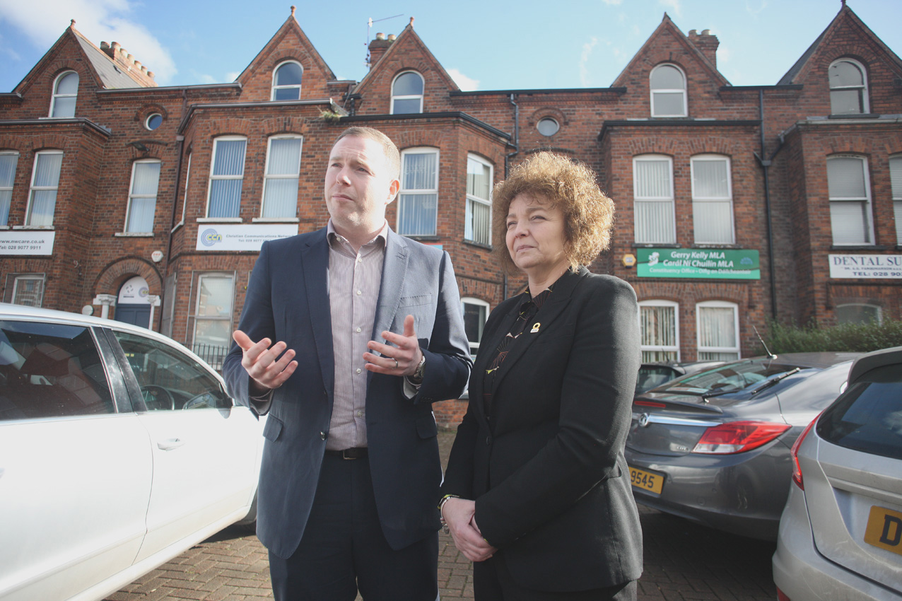 Chris Hazzard with Caral Ni Chuilin after meeting with York Street residents