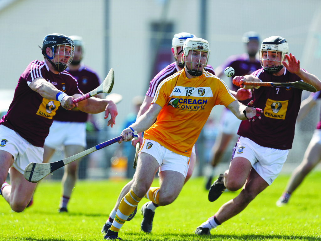 Deaglan Murphy hit a dozen points for Antrim against Westmeath at the weekend and his performance drew praise from assistant manager, Neal Peden