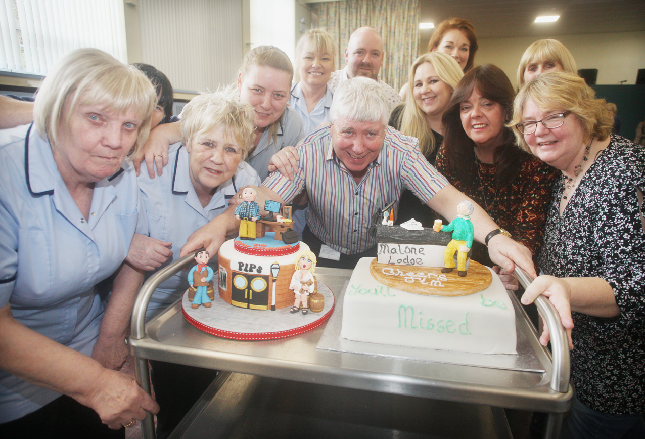 DOUBLE TRIBUTE Jim Gray had not one cake but two as he marked his retirement from Everton Day Centre with friends and colleagues