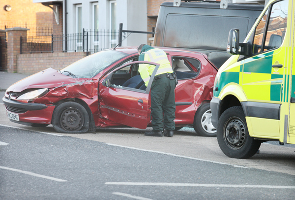 The red Peugeot 206 careered into a van in the early-morning incident witnessed by a local\n\n