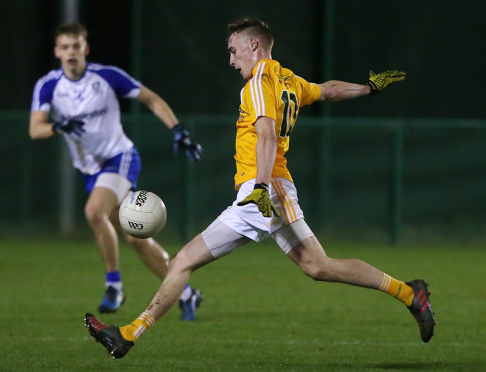 Antrim's Seamus McGarry could be in line to make his senior NFL debut against Laois this Sunday after scoring 0-8 in last week's U21 Football Championship loss to Monaghan\nUlster U21 Championship.  Antrim Vs Monaghan at QUB\'s Dub pitches in South Belfast. \n\nAntrim\'s Seamus McGarry lays the ball up to score a point. \n\nPhoto by Jonathan Porter / Press Eye.