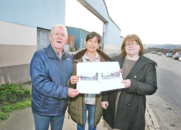 BIG IDEAS: Patrick Devlin and Bernie McConnell, Short Strand Partnership, with Councillor Mairead O\'Donnell, centre, with redevelopment plans for the Short Strand bus depot
