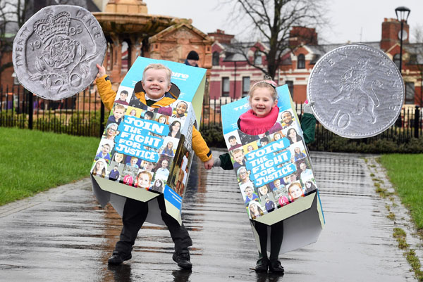 Cillian Devlin Benstead (5) and Mary-Kate Page (5) help launch Trocaire\'s Lenten campaign 2017. (Photo: Justin Kernoghan, Photopress)