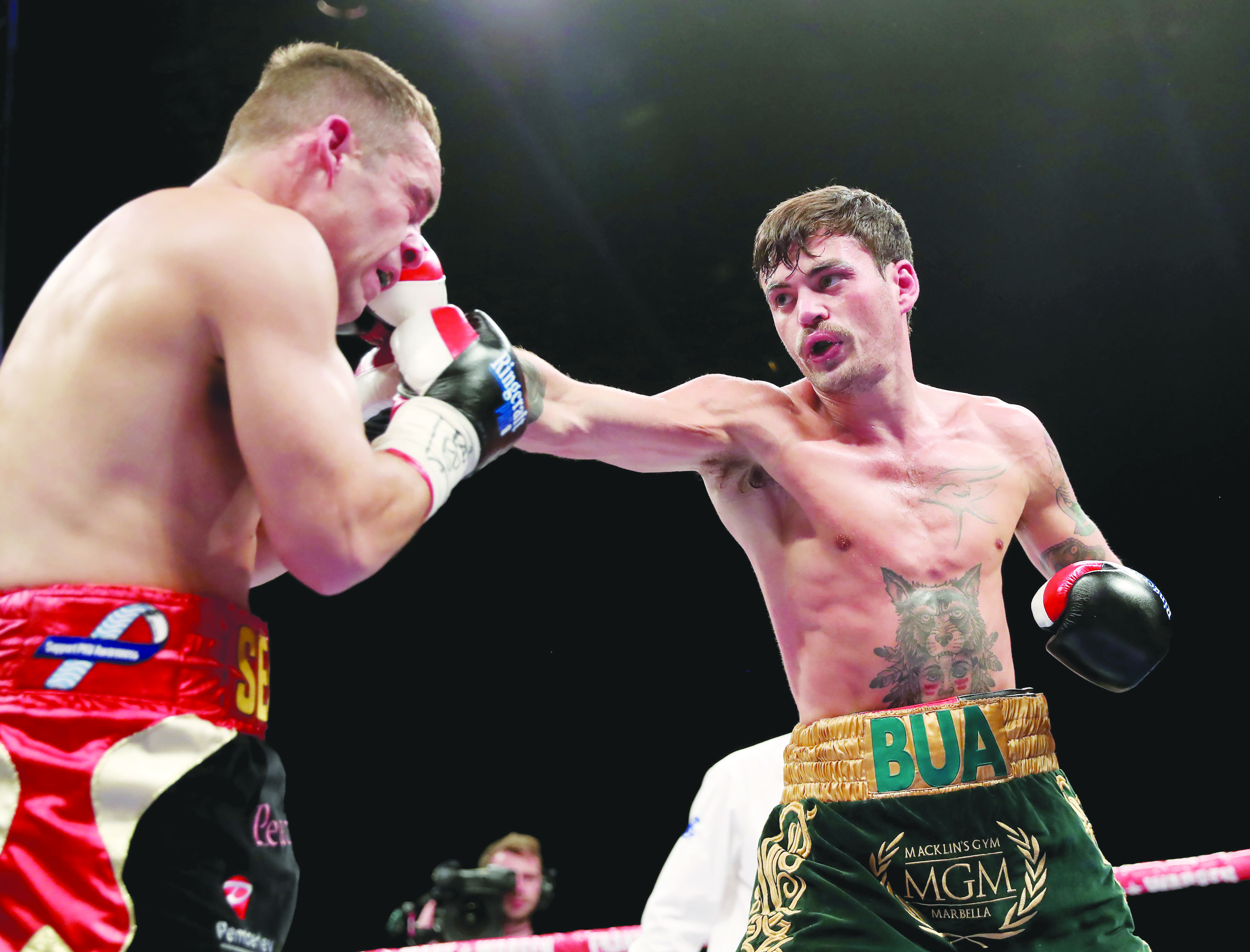 Tyrone McKenna (right), pictured in action against Sean Creagh at the Titanic Exhibition Centre last November returns to action on Friday night when he takes on undefeated Dubliner Jake Hanney at Belfast's Waterfront Hall