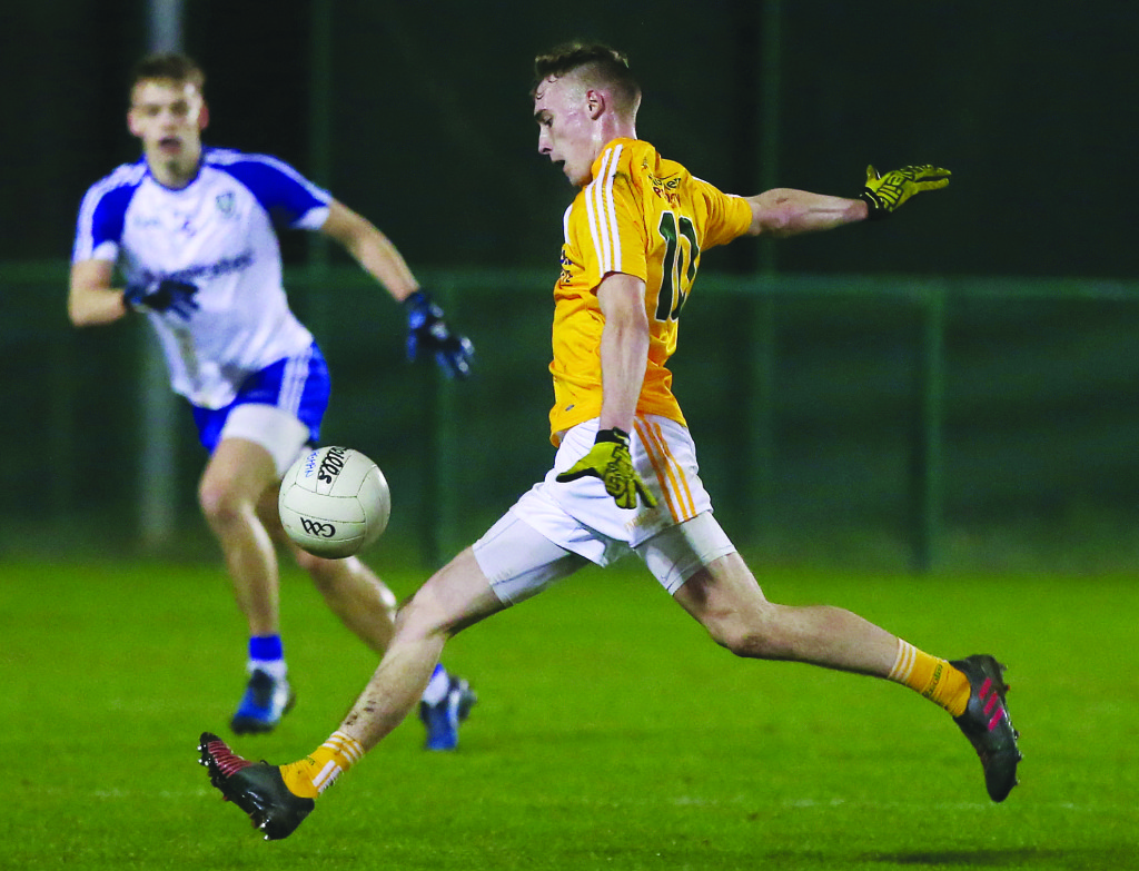 Antrim's Seamus McGarry could be in line to make his senior NFLdebut against Laois this Sunday after scoring 0-8 in last week's U21 Football Championship loss to Monaghan