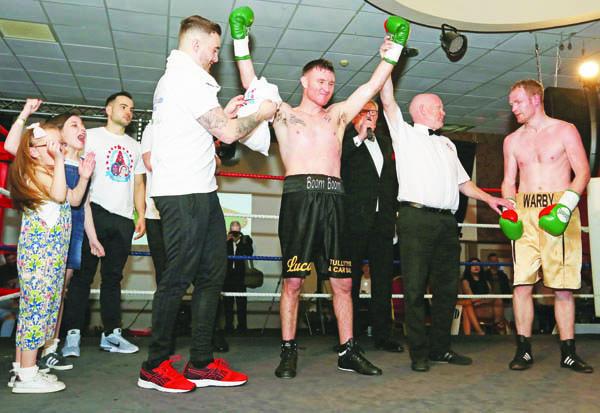 Gerard Healy celebrates his victory over William Warburton at The Devenish on Saturday