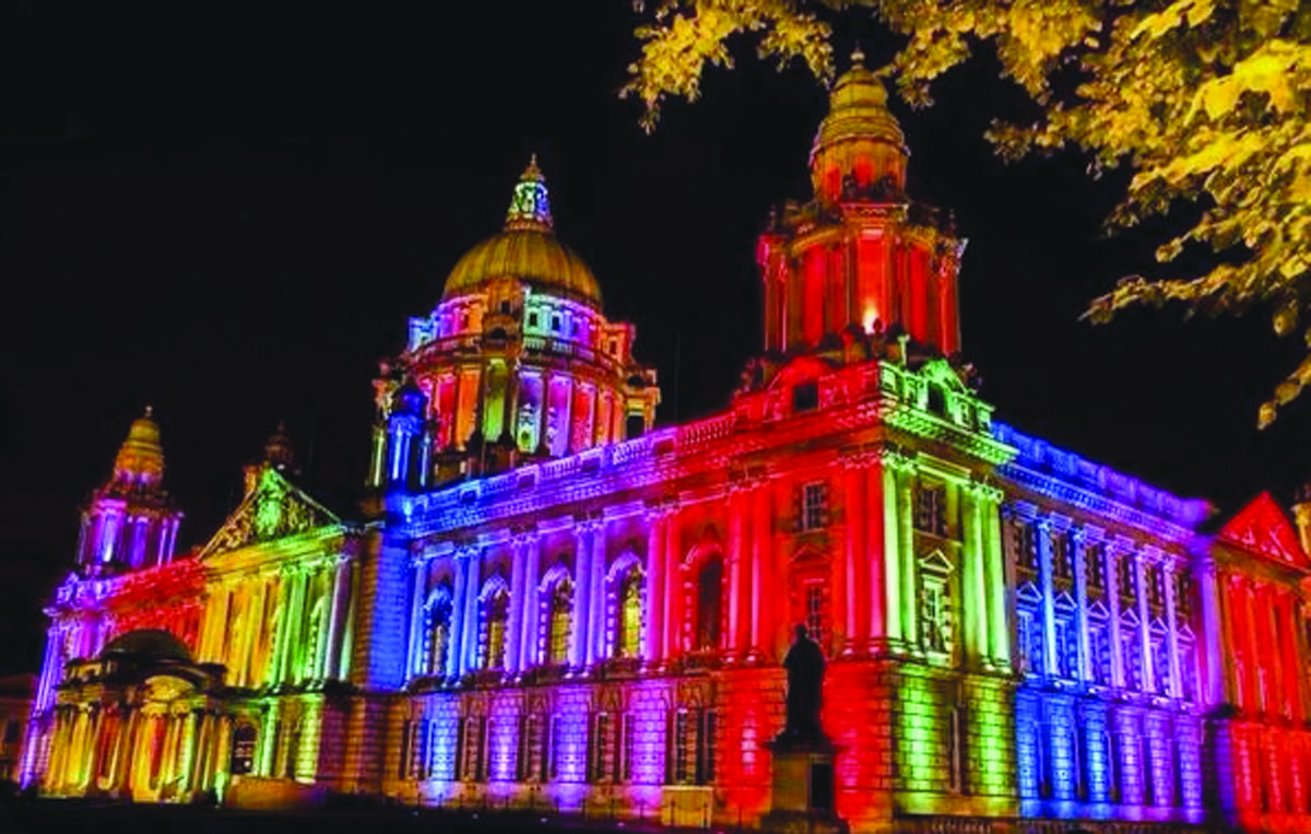A stained glass window has been proposed for Belfast City Hall in recognition of LGBT citizens in the city; inset, Belfast Deputy Lord Mayor Mary-Ellen Campbell