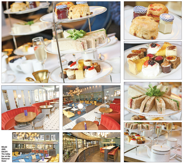 SIT BACK AND ENJOY: The treats on offer during afternoon tea in the newly renovated lobby bar in the Balmoral Hotel