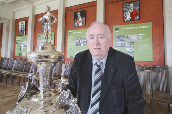 SILVERWARE:Fra McCann MLA at the exhibition on the life of ex-Belfast Celtic player Patrick O\'Connell