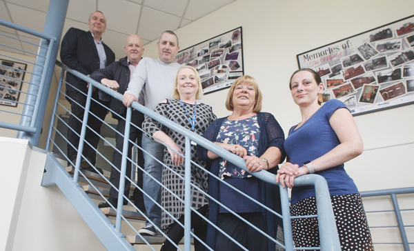 John Palmer,Elaine Mansfield, Terry Clinton, Martina McIlkenny, Gerry OÕReilly and Elaine Watts on Donegall Pass opining a new PIPS office