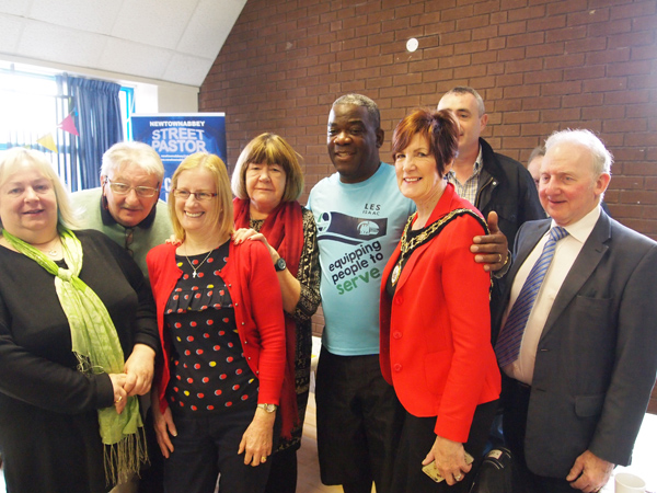 Antrim and Newtownabbey Deputy Mayor Noreen McClelland met with Rev Isaacs and other community volunteers at Friday\'s breakfast